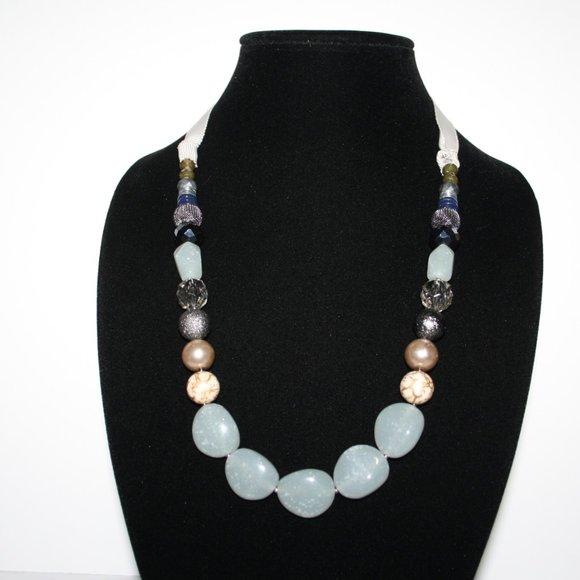 "Beautiful stone and ribbon necklace 62"""